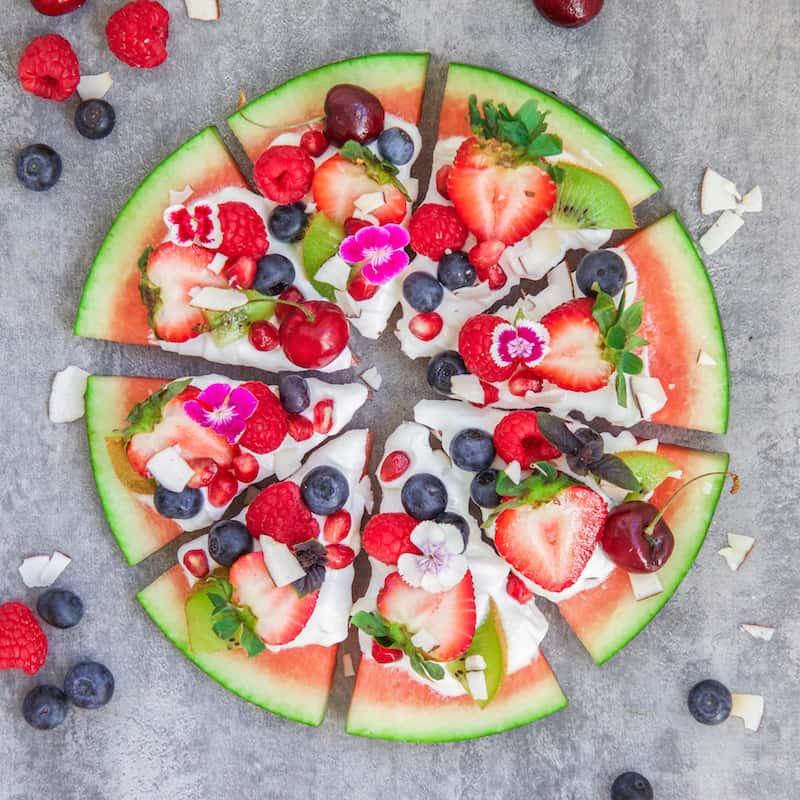 Vannmelonpizza med Omega-3 fra algeolje